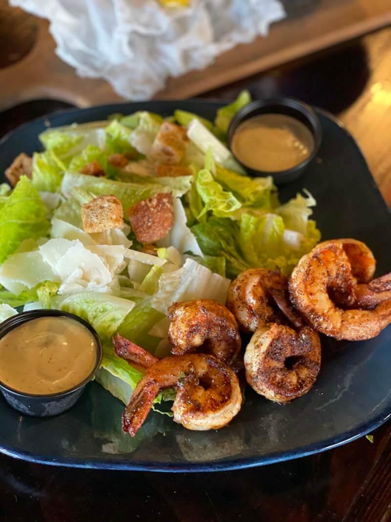 Caesar Salad & Blackened Shrimp